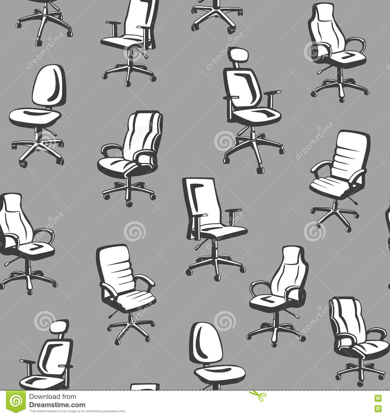 Office Chairs Seamless Pattern. Stock Vector