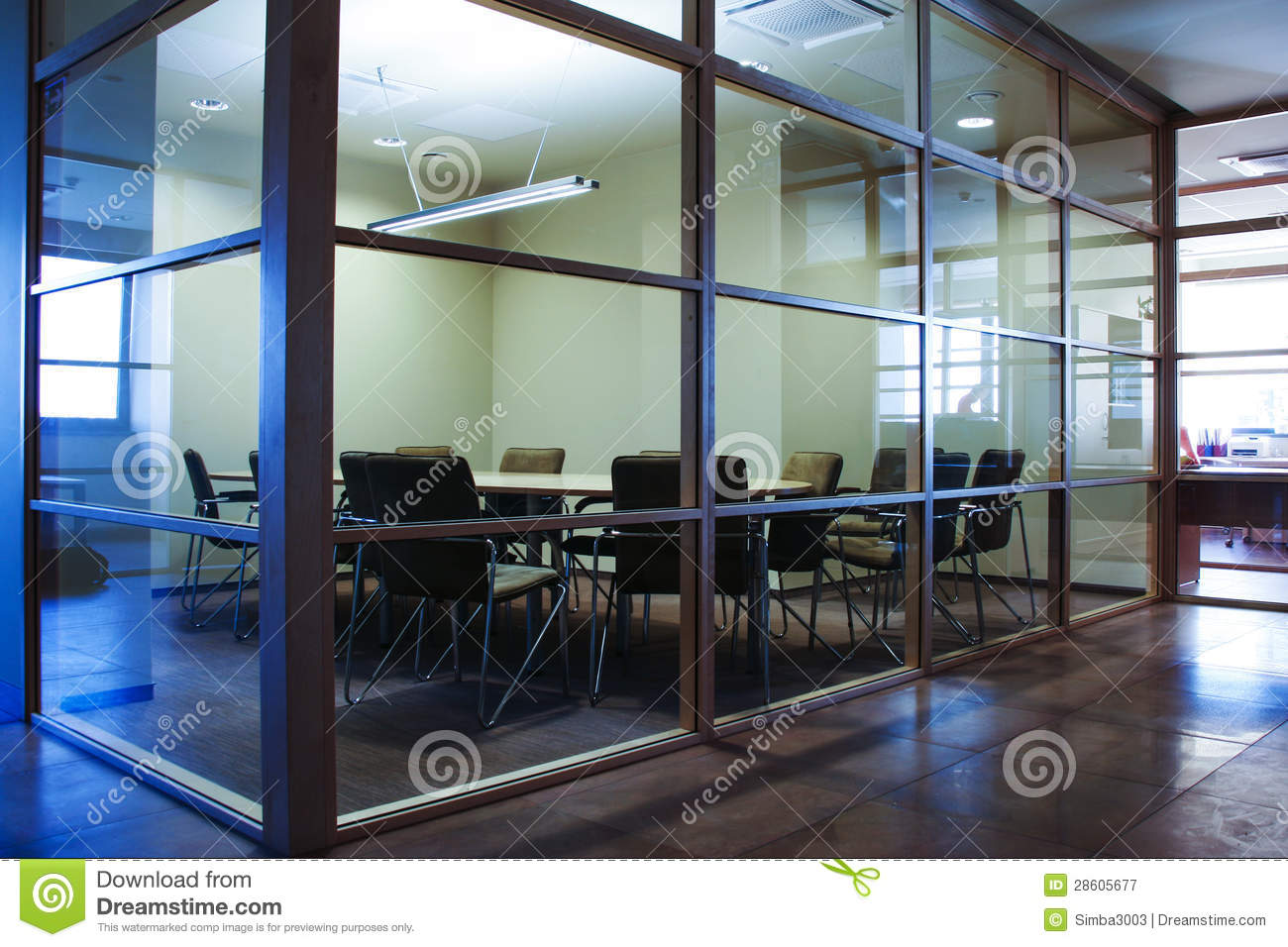 modern conference chairs desk chair nyc office room with glass walls royalty free stock photography - image: 28605677