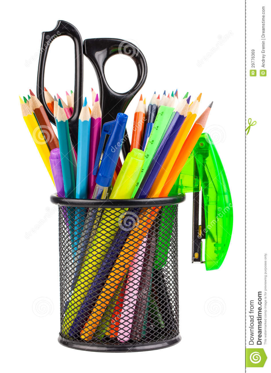 Office Cup With Scissors Pencils And Pens Royalty Free