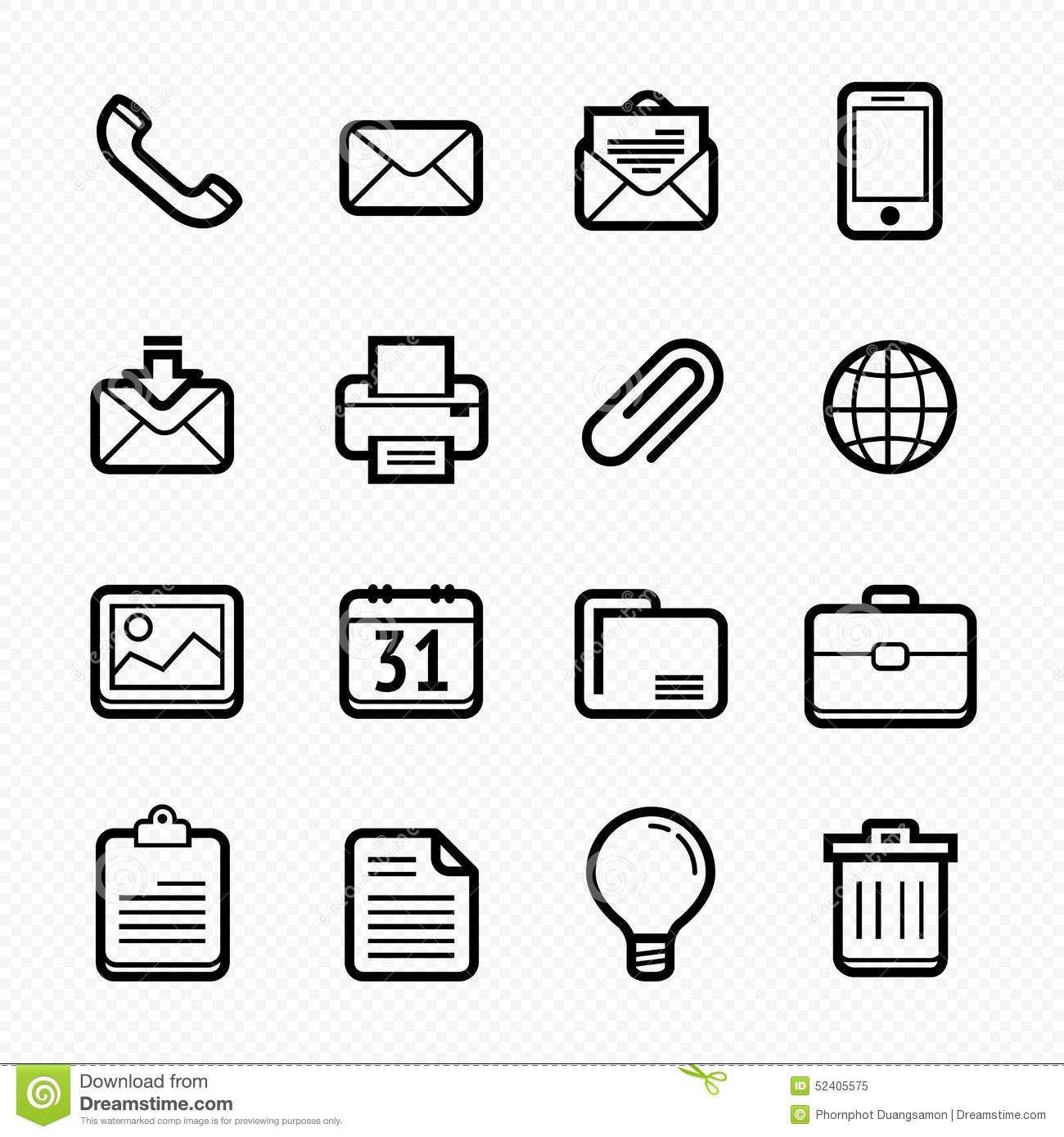 Office Elements Line Icons Set On White Background