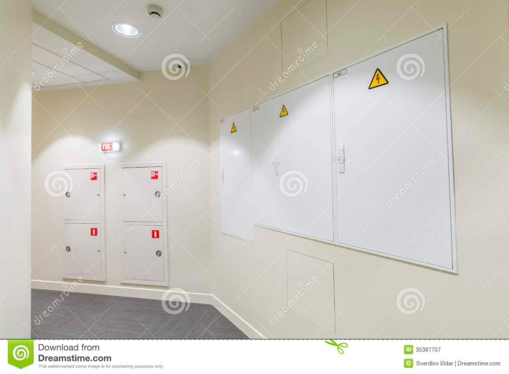 medium resolution of office interior corridor with light colored walls and fire box fuse box