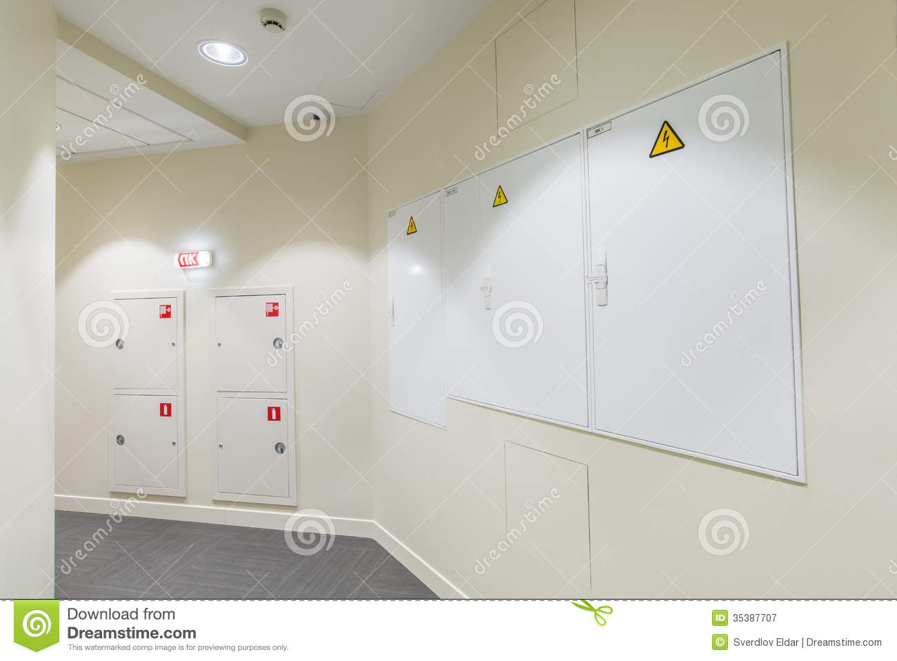 hight resolution of office interior corridor with light colored walls and fire box fuse box