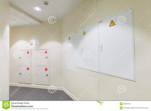 small resolution of office interior corridor with light colored walls and fire box fuse box