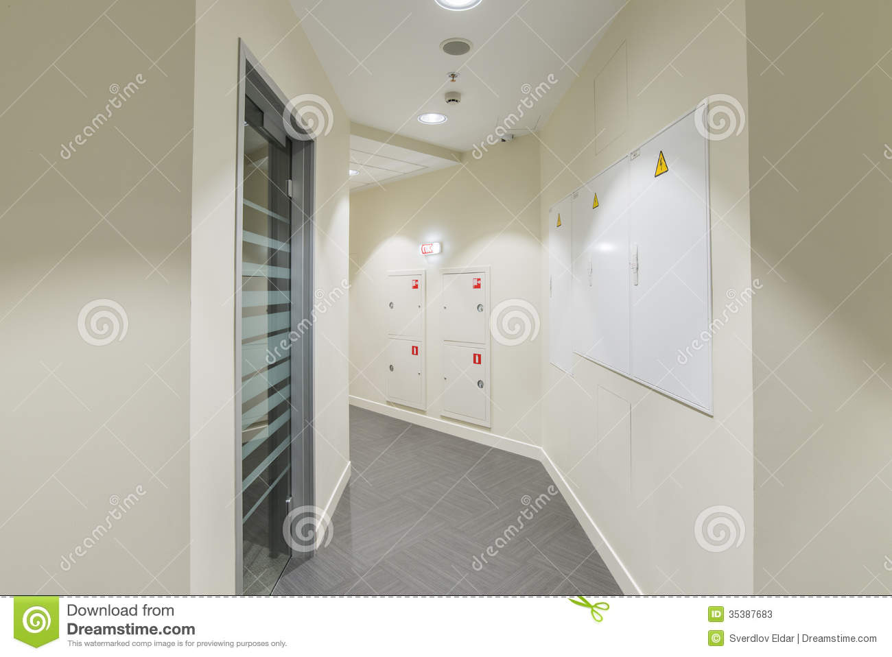 hight resolution of corridor with light colored walls glass dorr and fire box fuse box