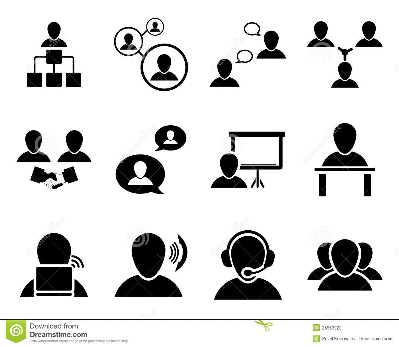 Office And People Icon Set Stock Vector Illustration Of Internet