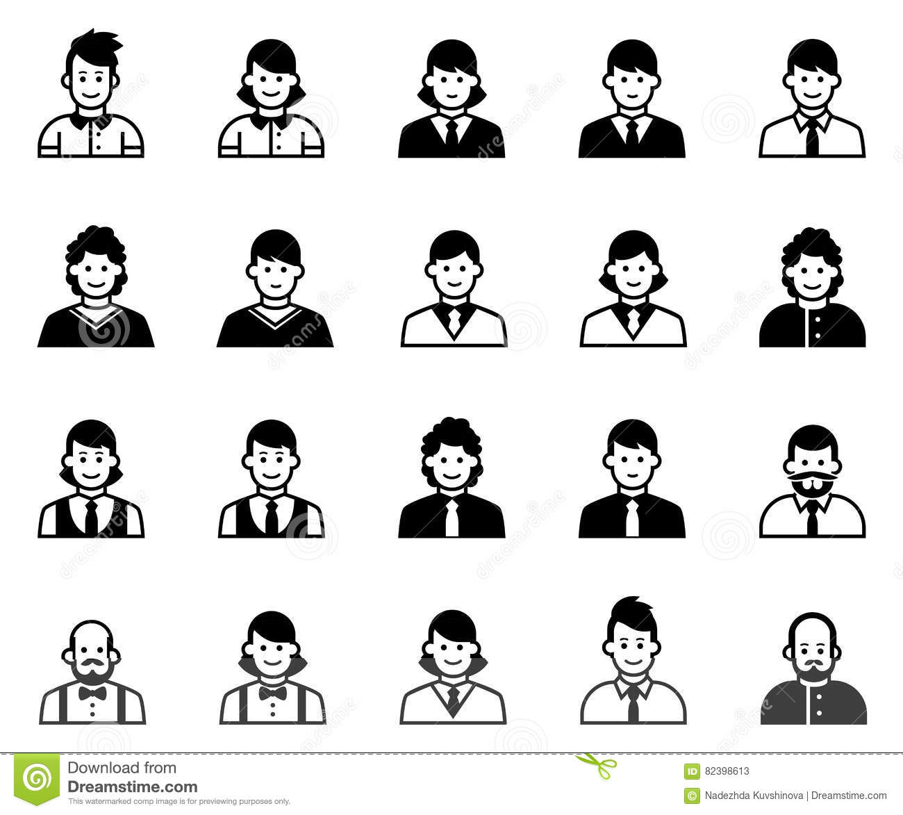 Office People Icons Set Stock Vector Illustration Of