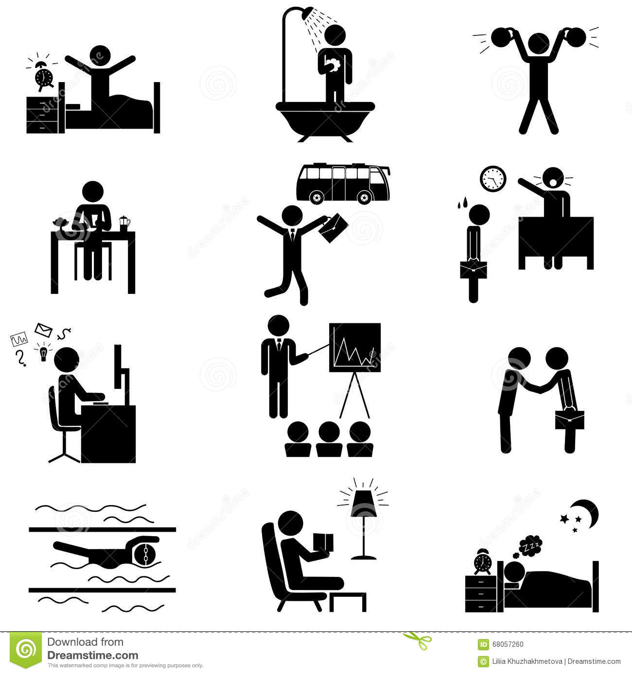 Office Routine Life Icons Stock Vector Image Of