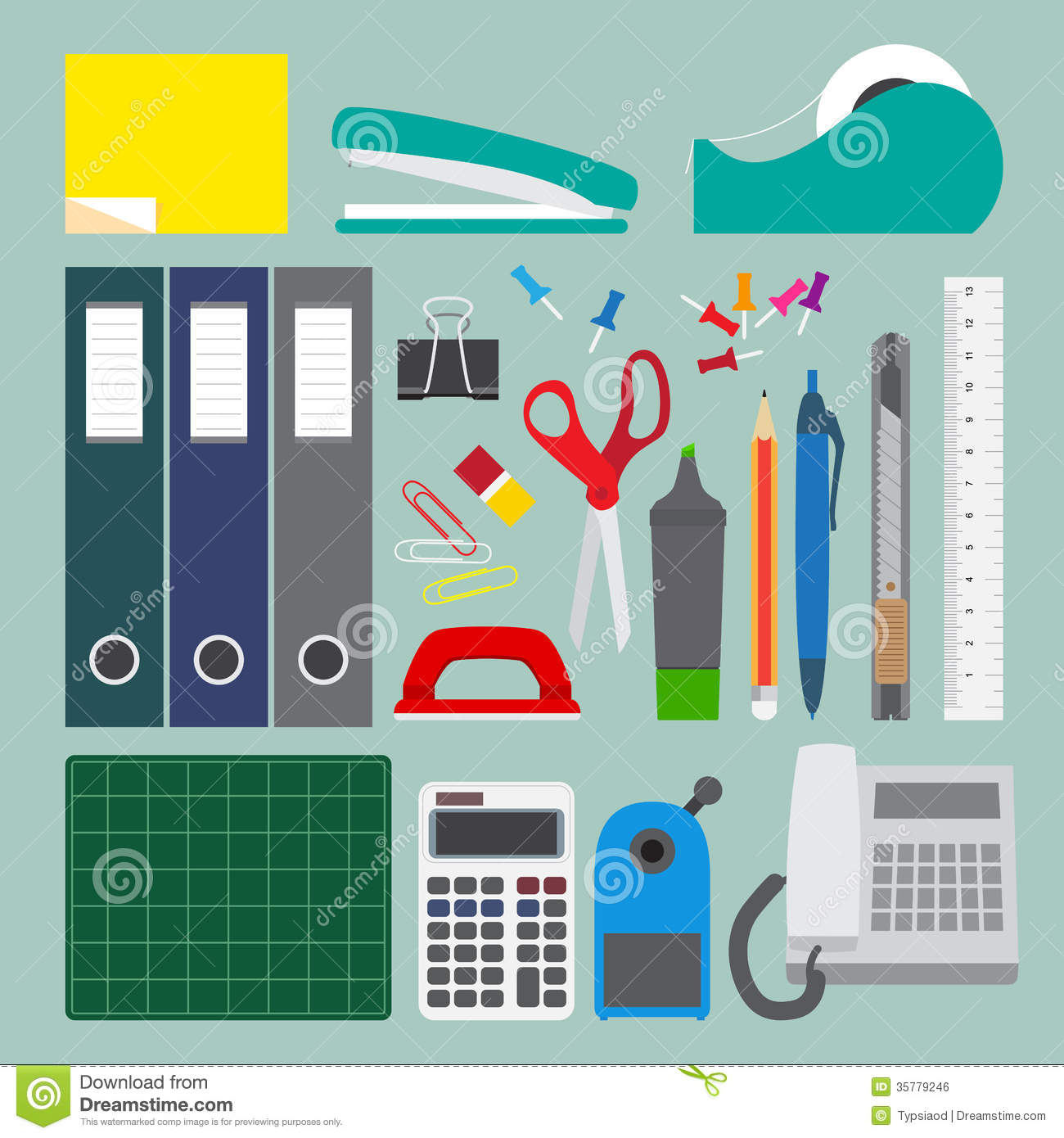 office stationery set with