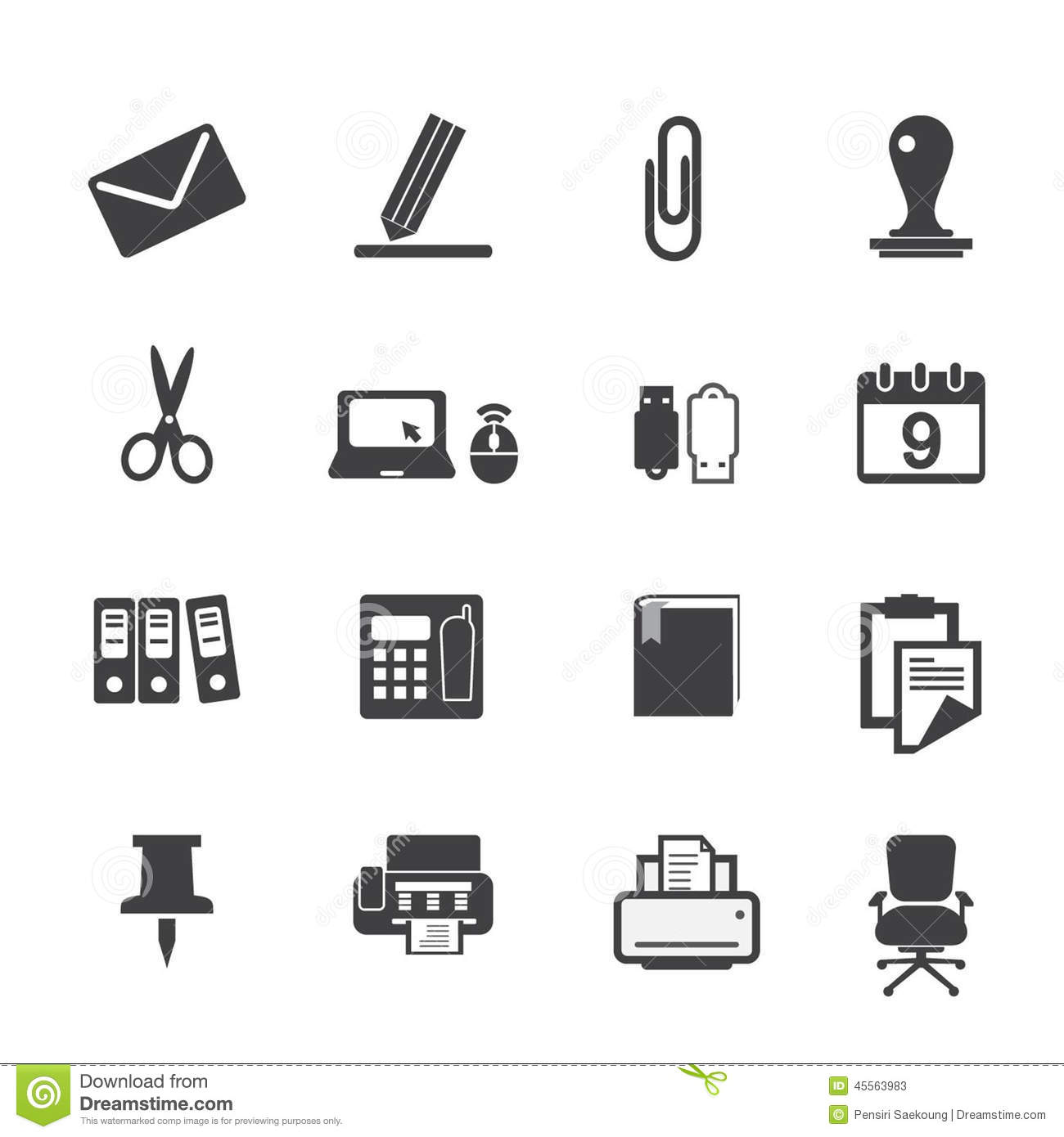 Office Supplies Icons Set Stock Vector Illustration Of