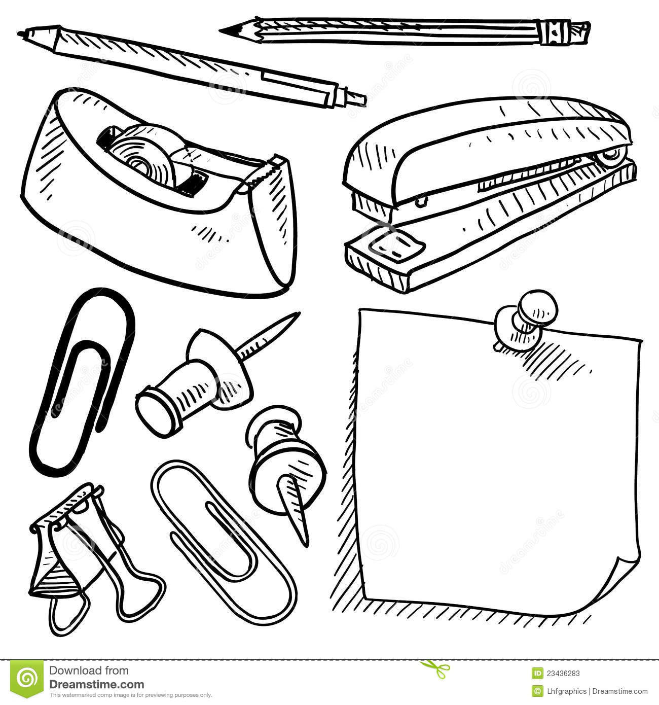 Office Supplies Sketch Stock Vector Illustration Of