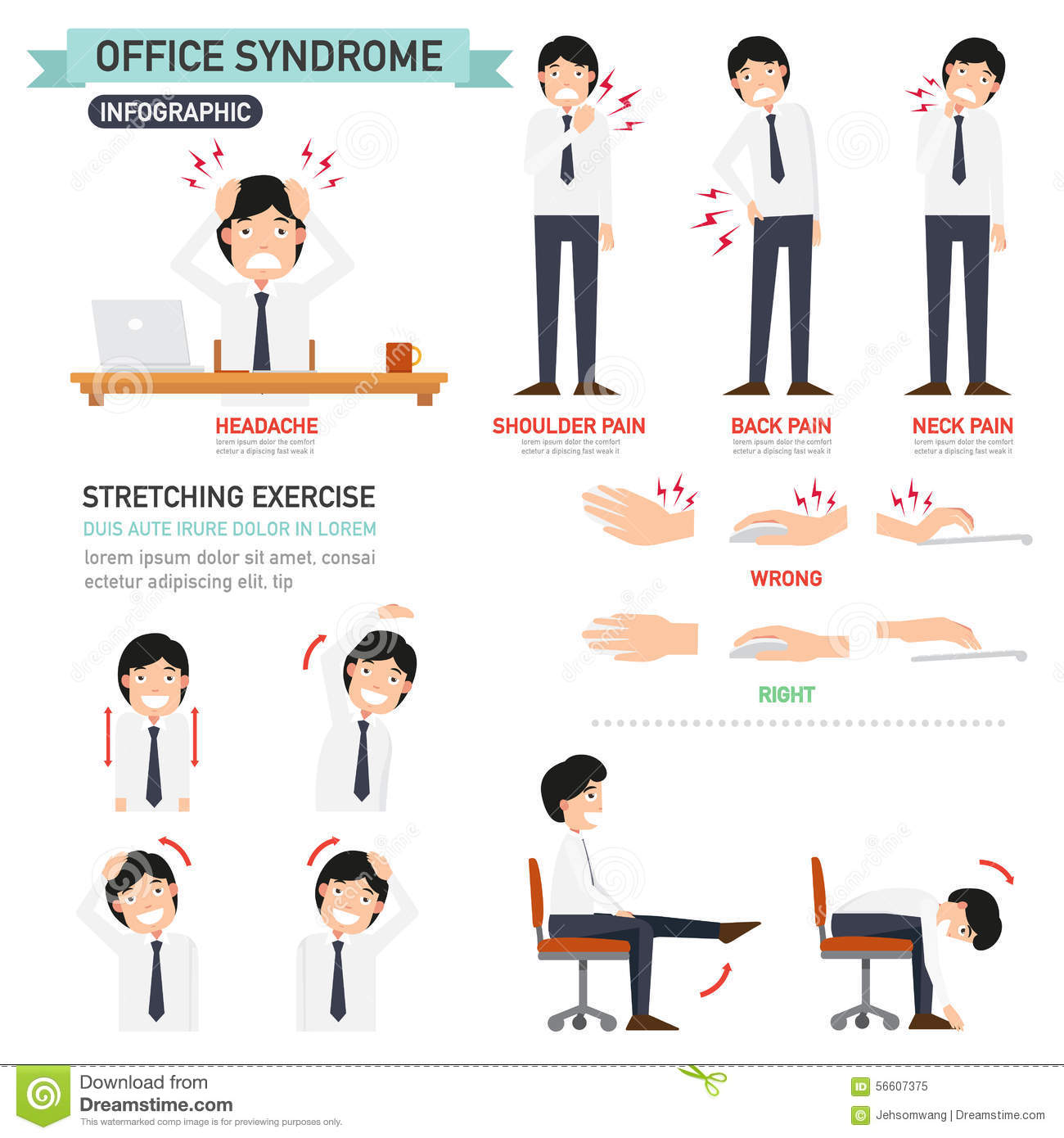 office chair exercises and a half ikea syndrome infographic stock vector - image: 56607375