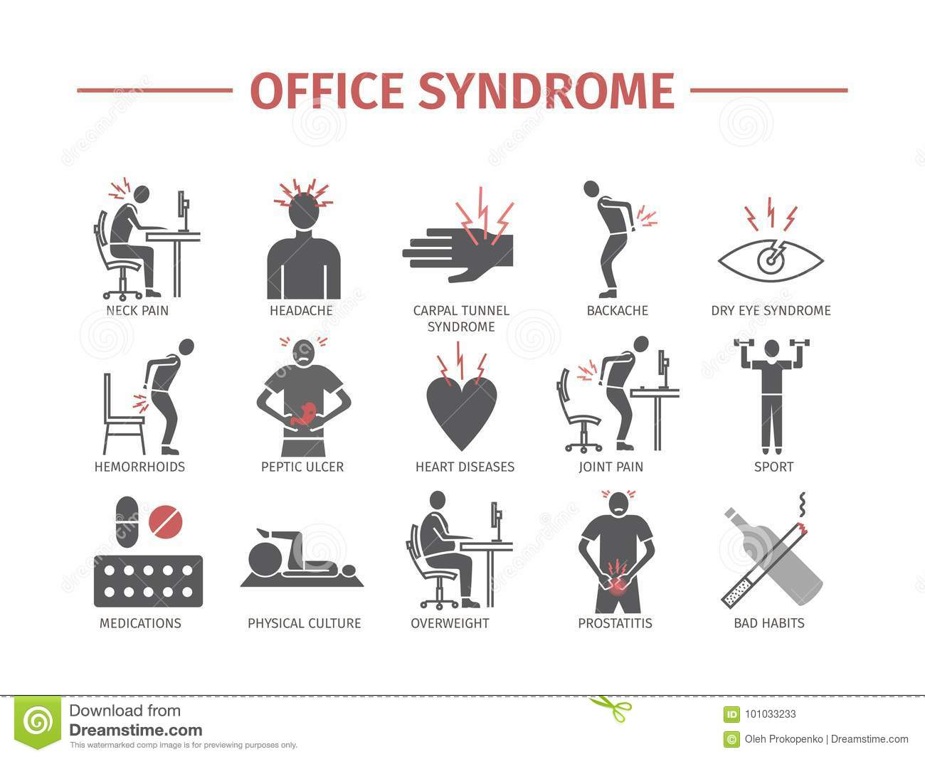 Office Syndrome Infographic Stock Vector