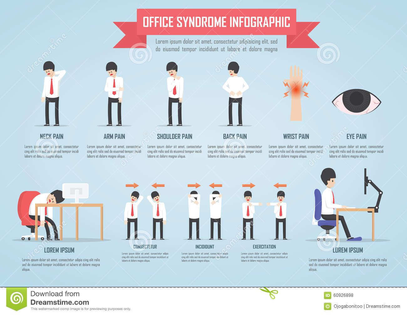 Office Syndrome Infographic Stock Vector  Image 60926898