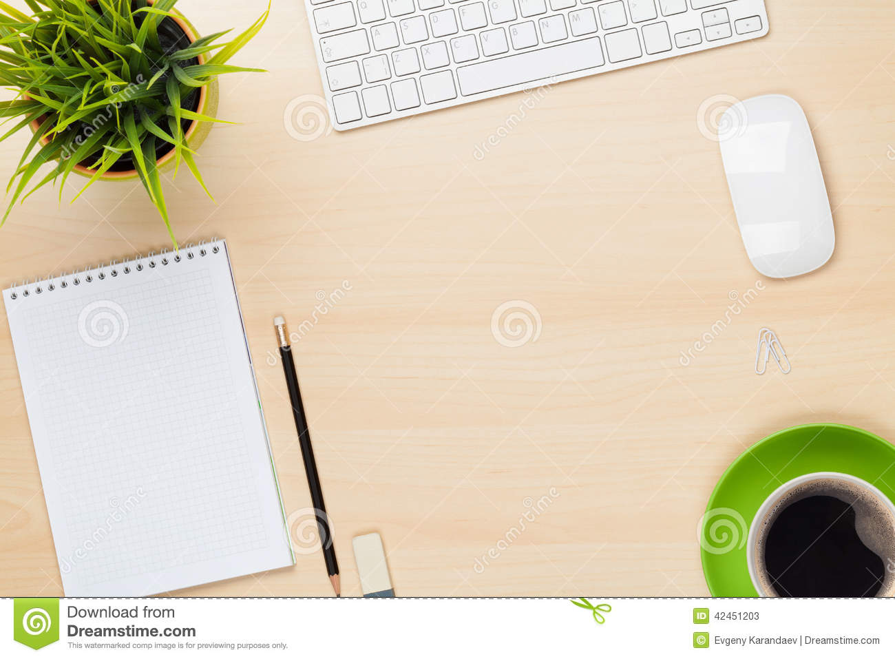 Office Table With Notepad Computer Flower And Coffee Cup