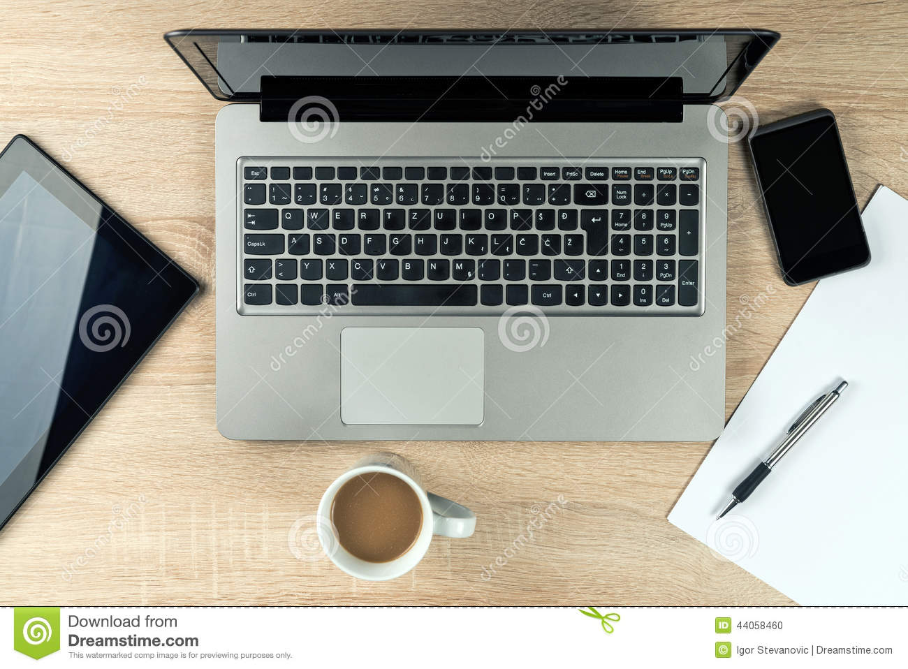 Office Table Top With Gadgets Stock Photo  Image 44058460