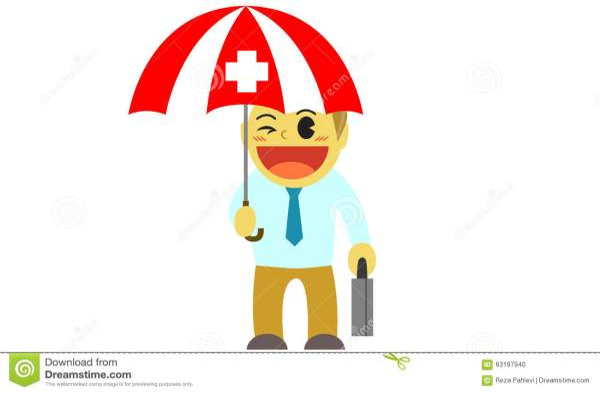Officeman Cartoon Health Insurance Umbrella Stock