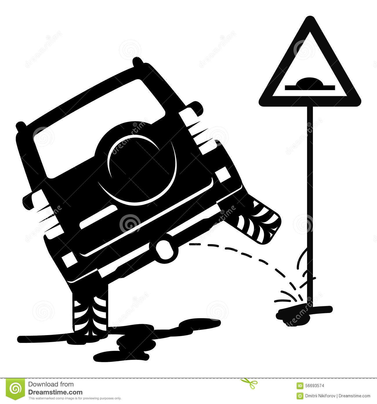 Offroad Car On The Sign Rough Road Stock Vector