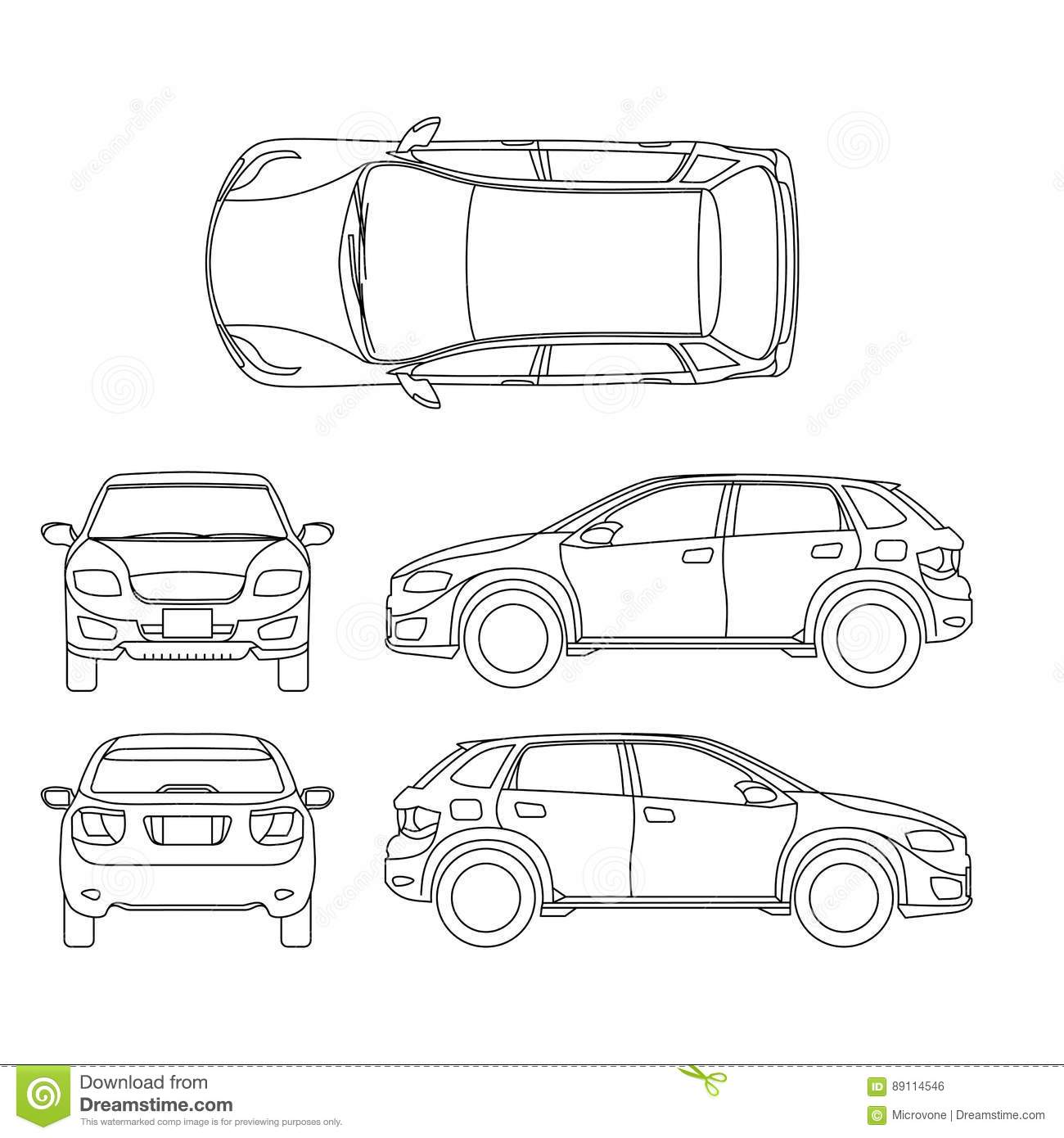 Offroad Suv Auto Outline Vector Vehicle Stock Vector