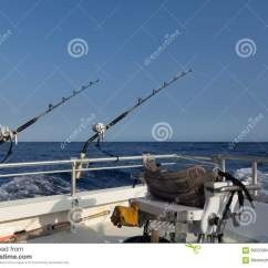 Fishing Chair Crane Adirondack Design Offshore Gear And Of Boat Stock Photo Image
