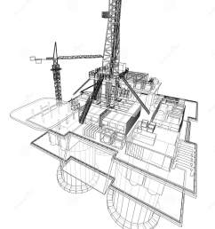 offshore oil rig drilling platform concept vector rendering of 3d wire frame style the layers of visible and invisible lines are separated [ 1327 x 1689 Pixel ]