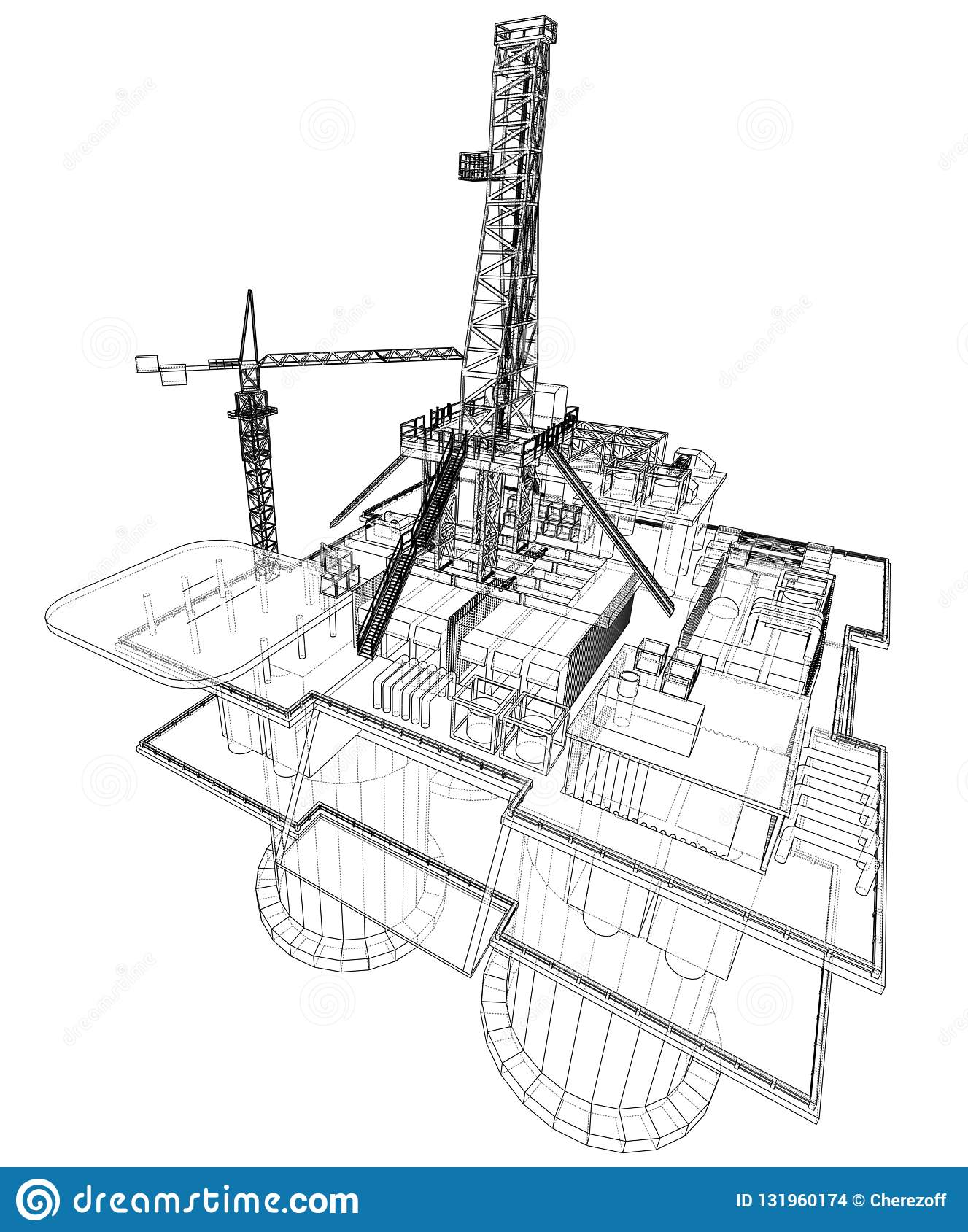 hight resolution of offshore oil rig drilling platform concept vector rendering of 3d wire frame style the layers of visible and invisible lines are separated