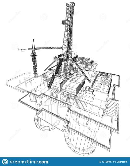 small resolution of offshore oil rig drilling platform concept vector rendering of 3d wire frame style the layers of visible and invisible lines are separated