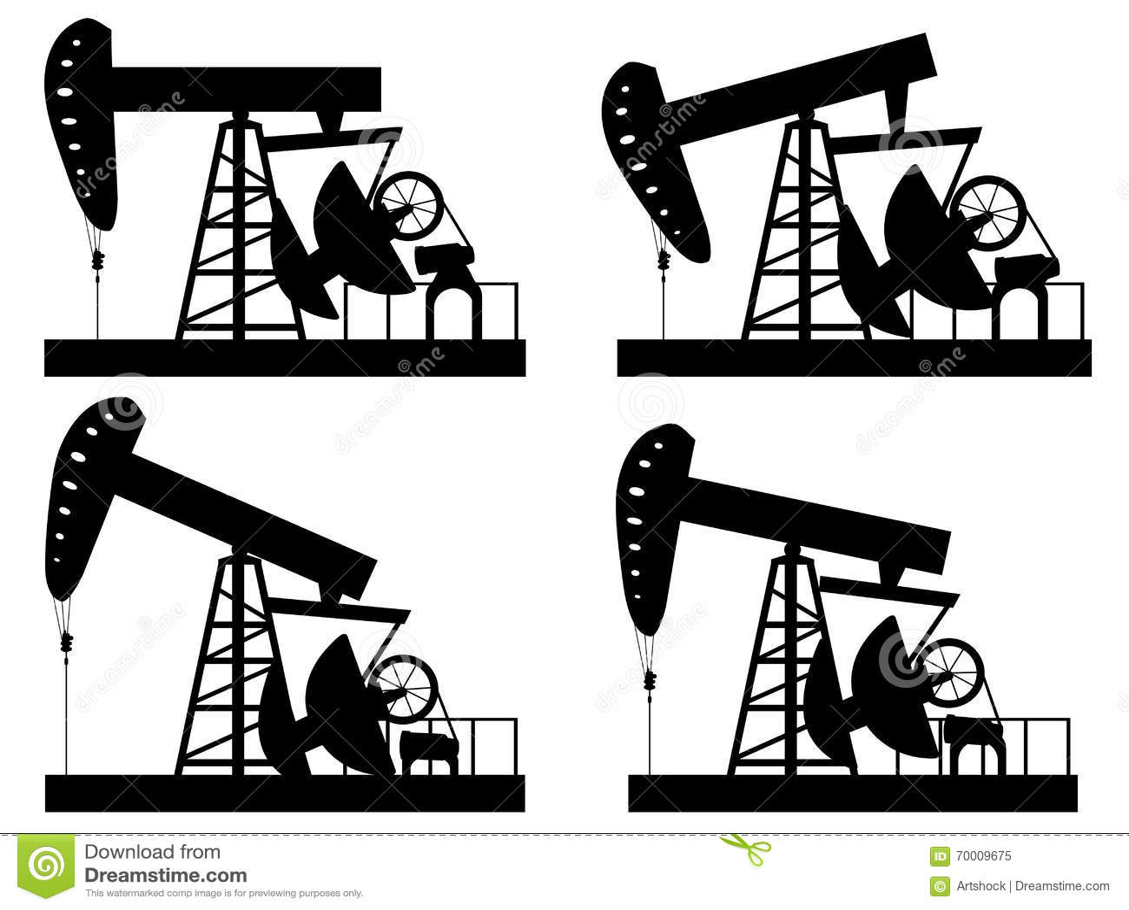 Oil Derrick Silhouette stock vector. Illustration of