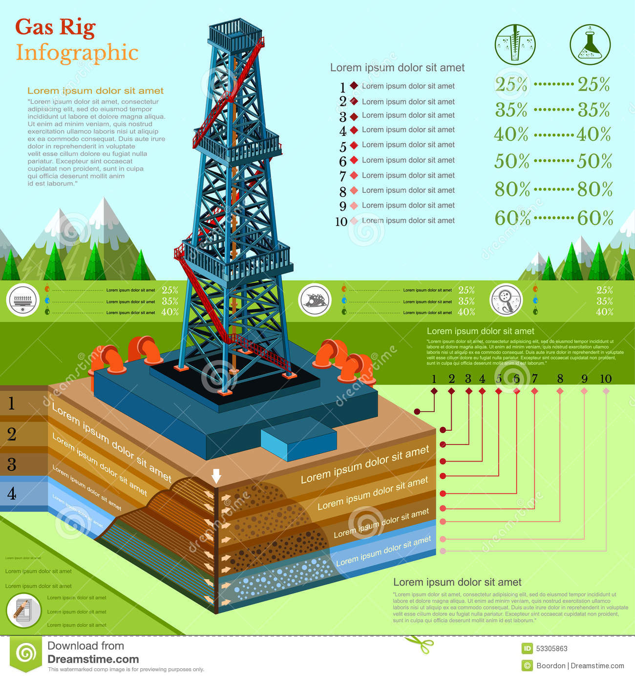z rig diagram chimney parts oil derrick tower or gas business infographic stock
