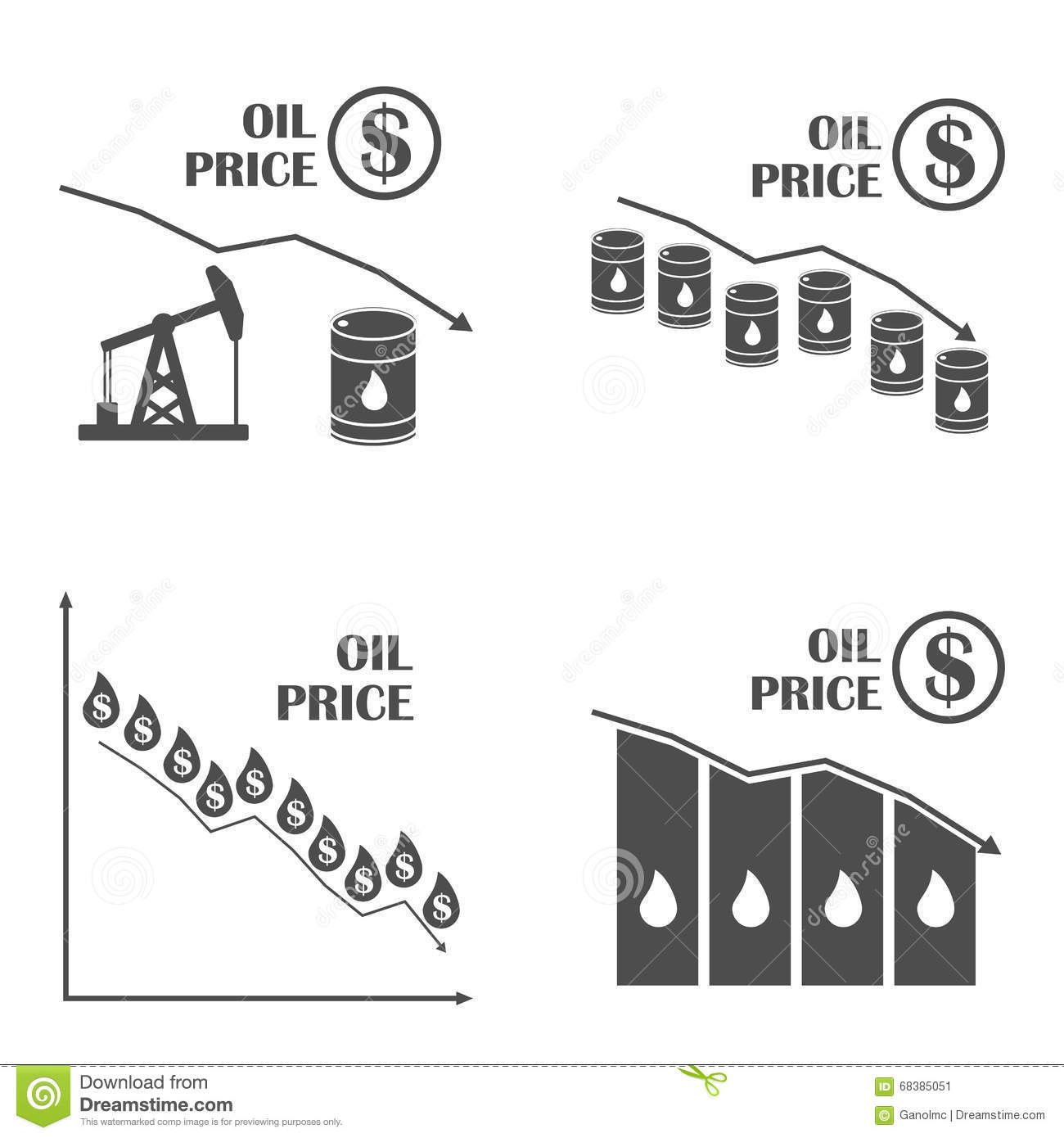 Oil Down Graphic Vector Set Drop In Oil Prices