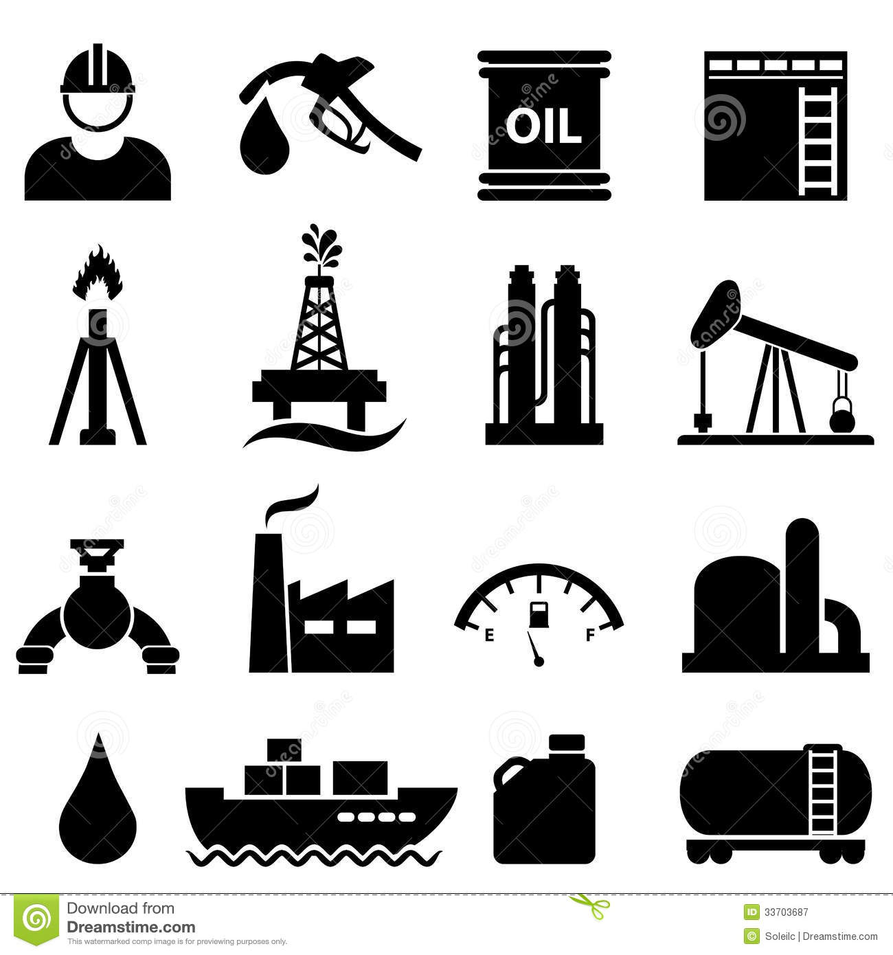 Oil And Gasoline Icon Set Stock Vector Illustration Of
