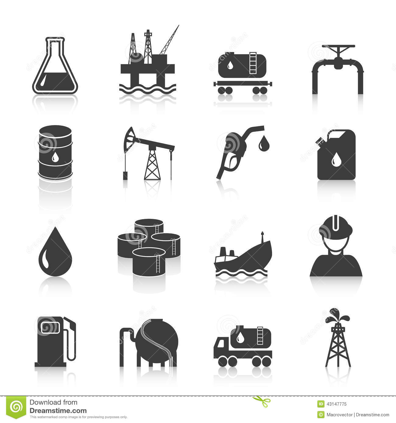 Oil Industry Icons Stock Vector