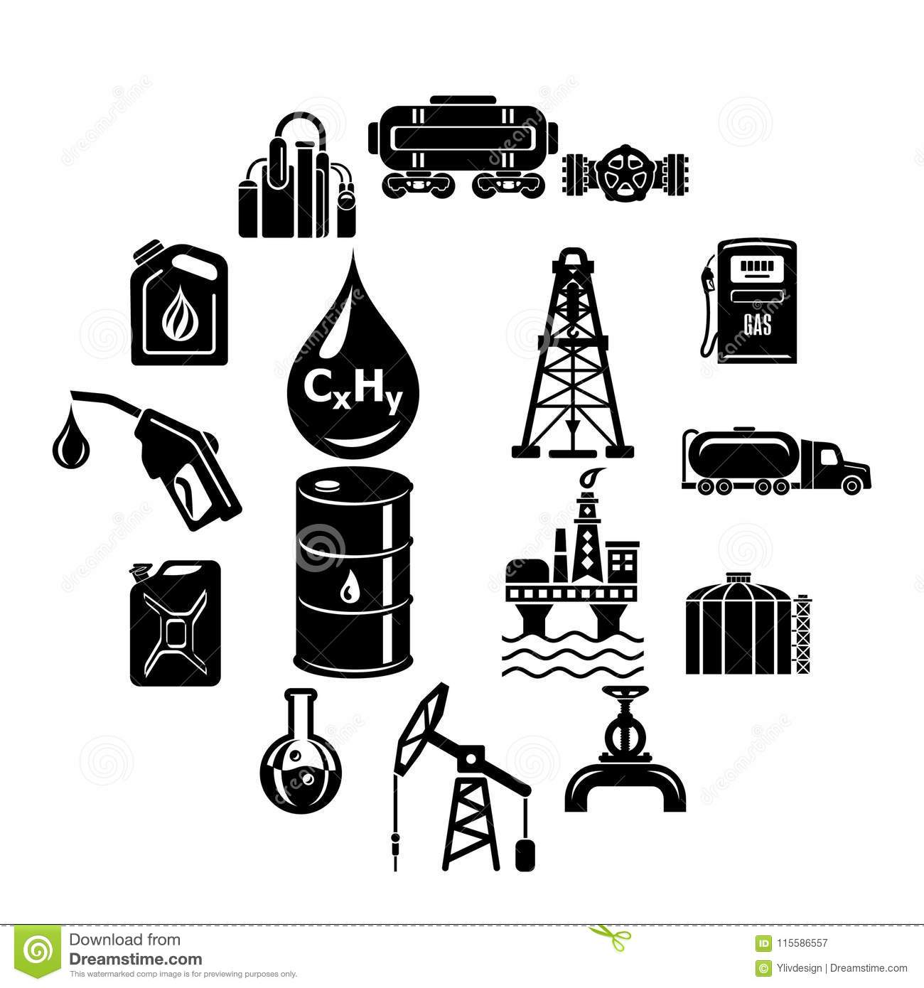 Oil Industry Icons Set, Simple Style Stock Vector