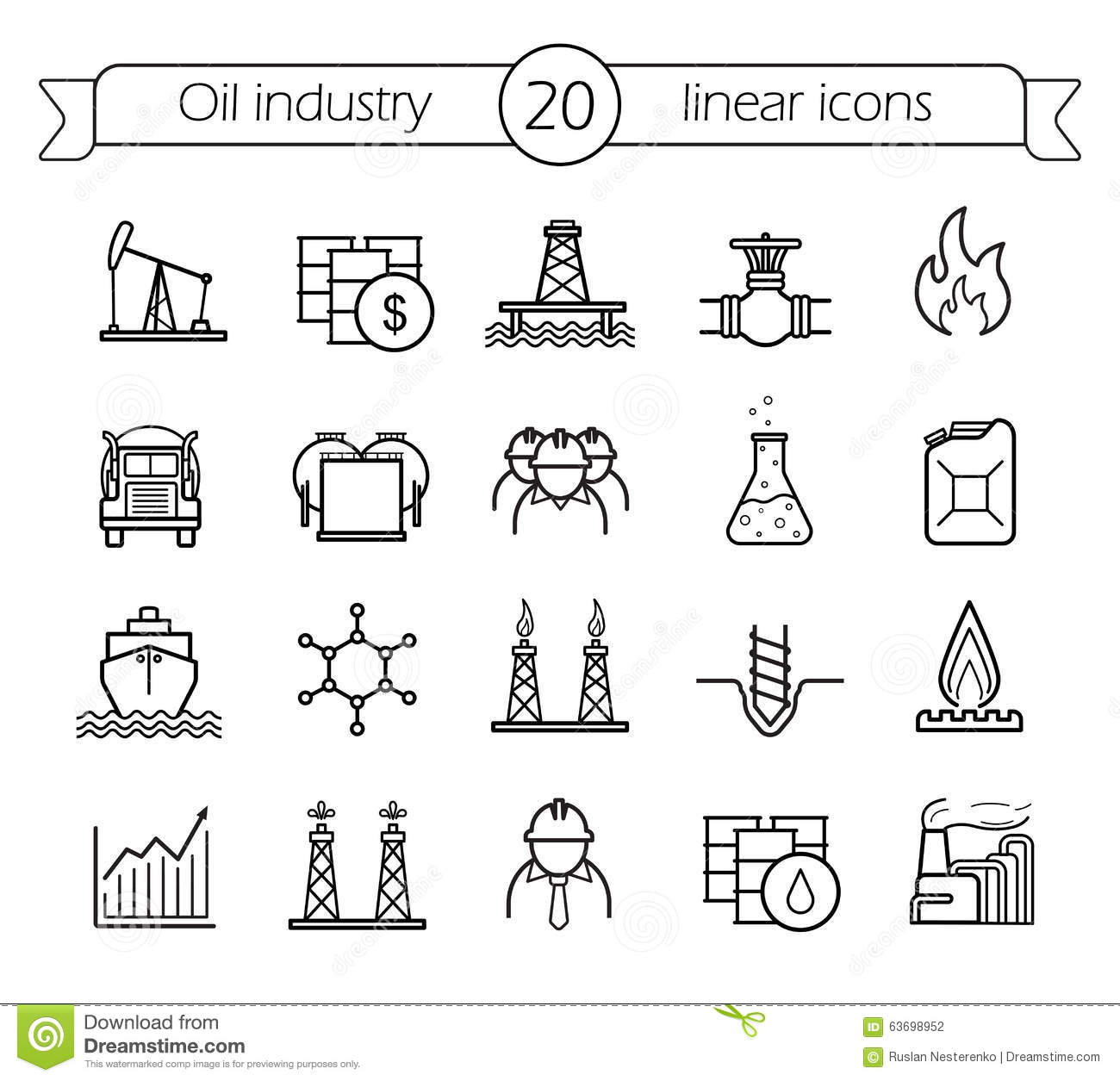 Oil Industry Linear Icons Set Stock Vector