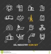 Oil Industry Outline Icon Set. Vector Stock