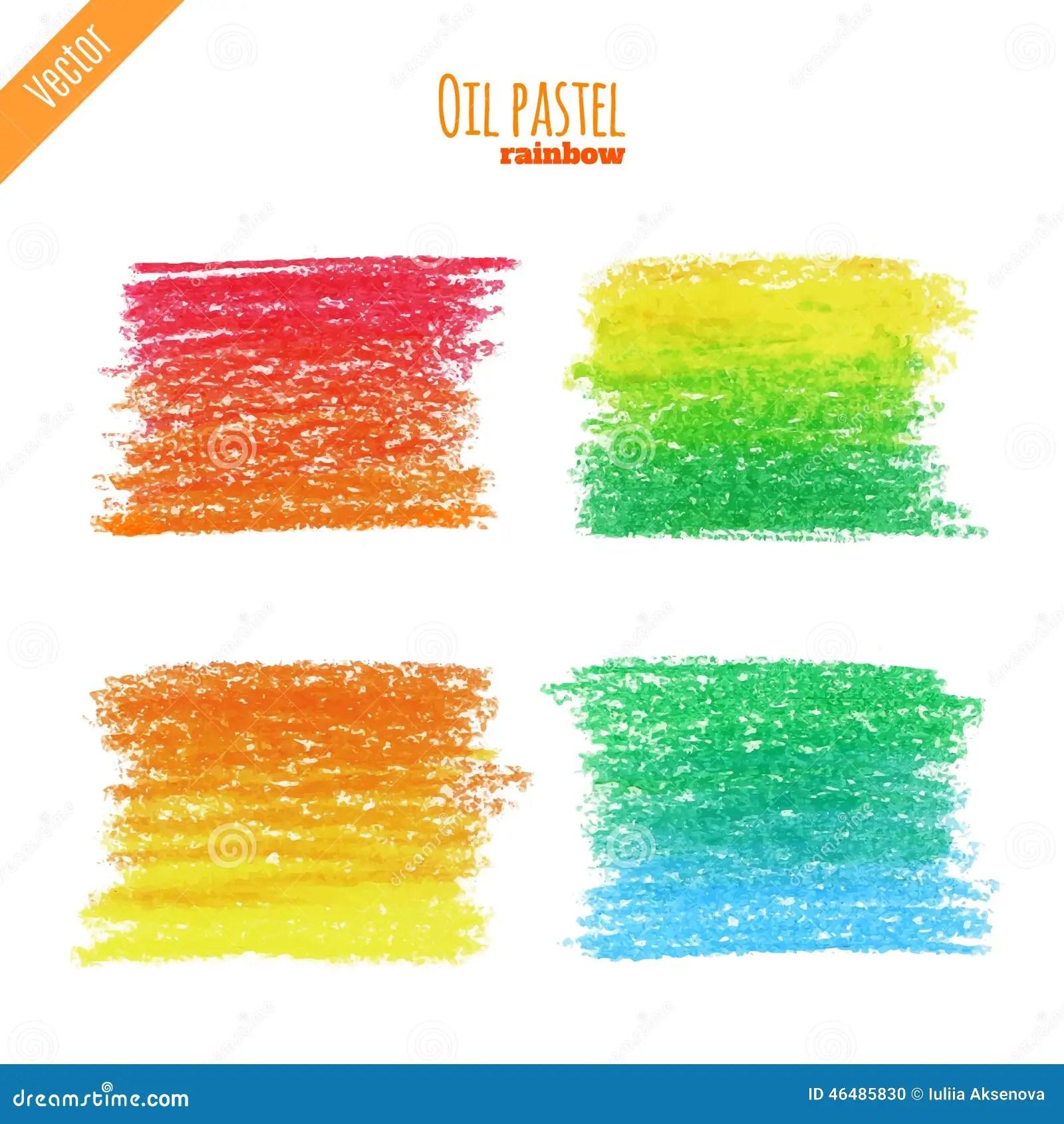 Oil Pastel Rainbow Background Stock Vector