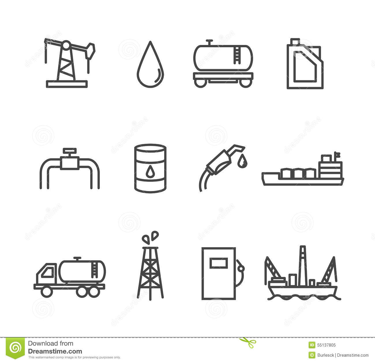 Oil And Petrol Industry Line Icon Set Stock Vector