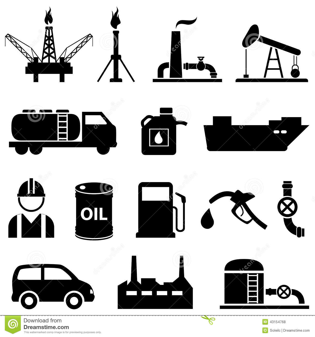 Oil Petroleum And Gasoline Icons Stock Vector