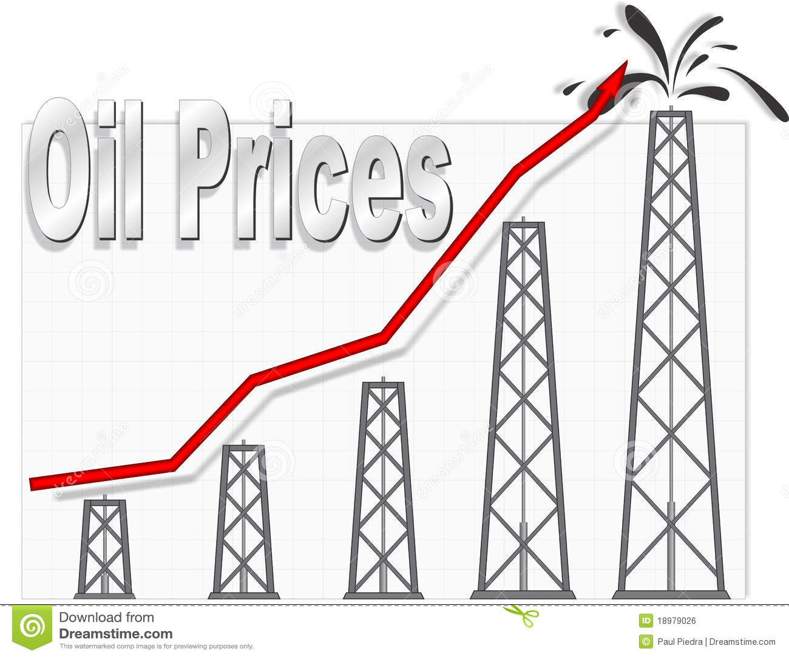 Oil Price Chart stock vector. Illustration of money, well