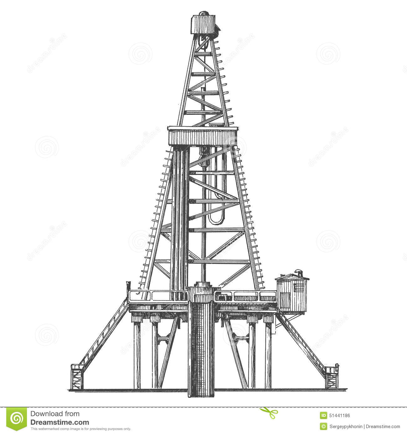 Oil Pump On A White Background Sketch Stock Illustration
