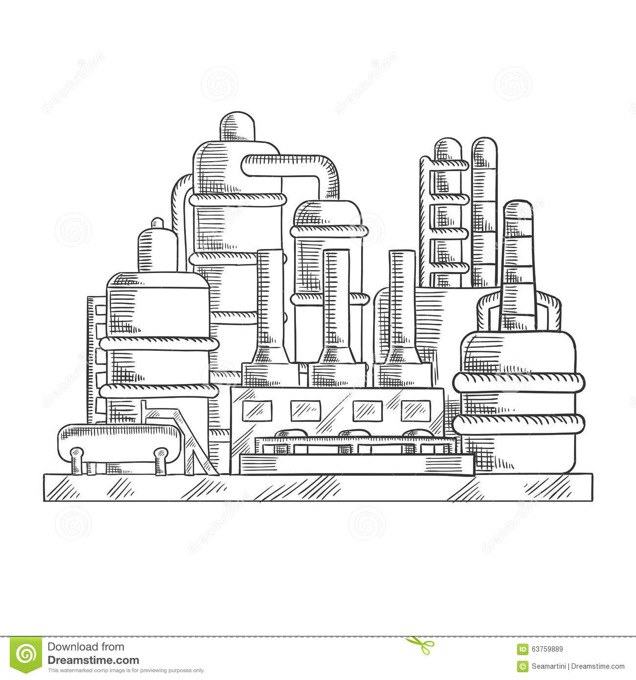 Oil Refinery Factory In Sketch Style Stock Vector