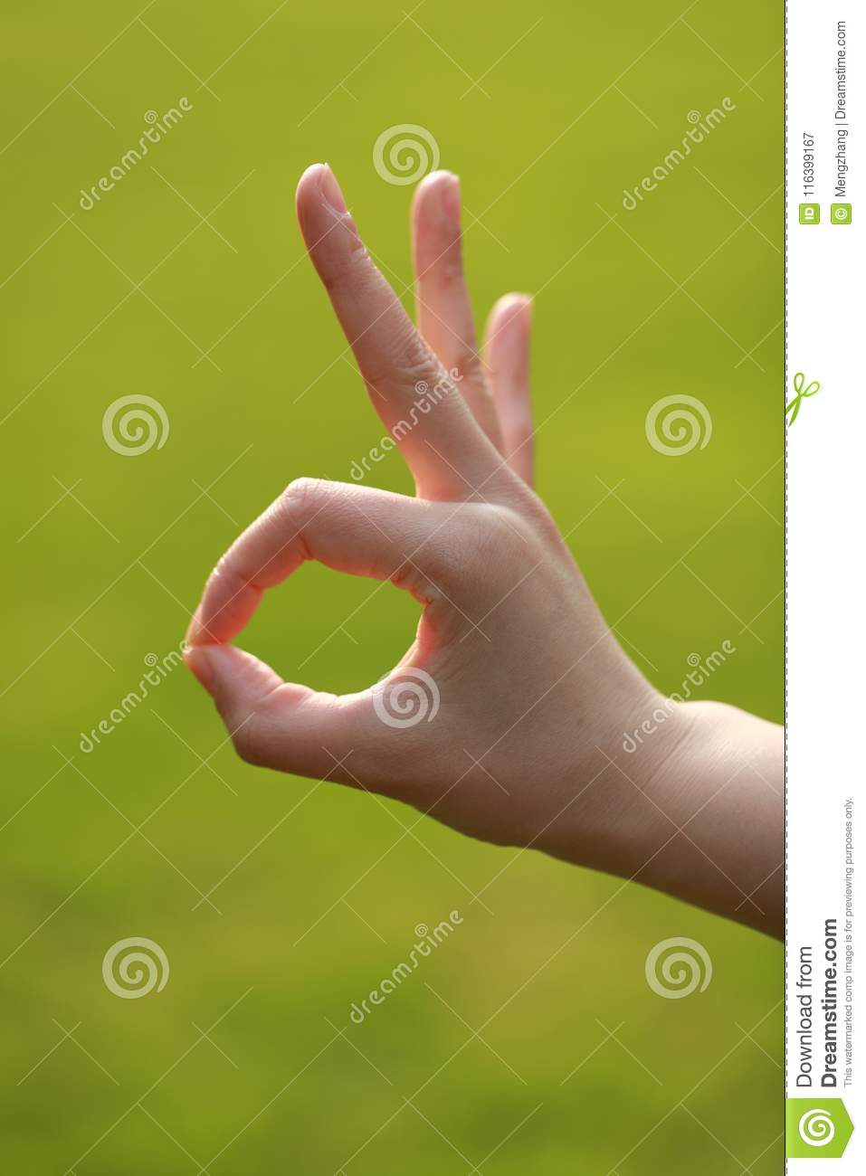 How To Say Good Job In Sign Language : language, Grass,, Woman, Agreement, Stock, Image, Thump,, Filed:, 116399167