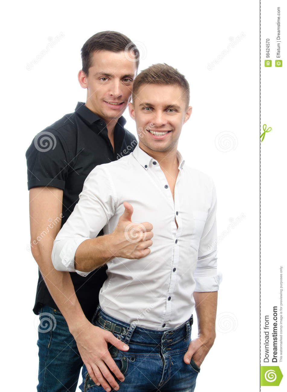 Okay. Two Guys. Love And Relationships. White Background. Stock Photo - Image of gesture. embracing: 98424570