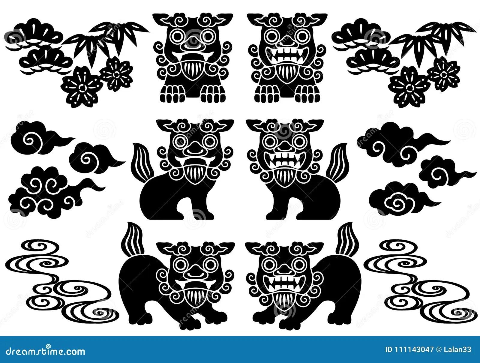 Set Of Okinawa Illustrations Stock Vector