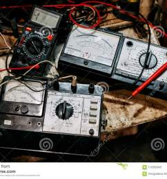 old ammeter electronics in garage [ 1300 x 957 Pixel ]