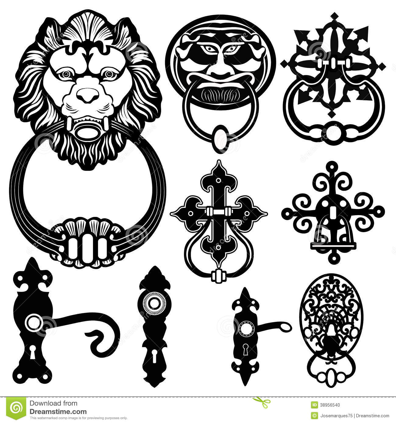 Old Antique Ancient Door Knocker Handle Stock Vector