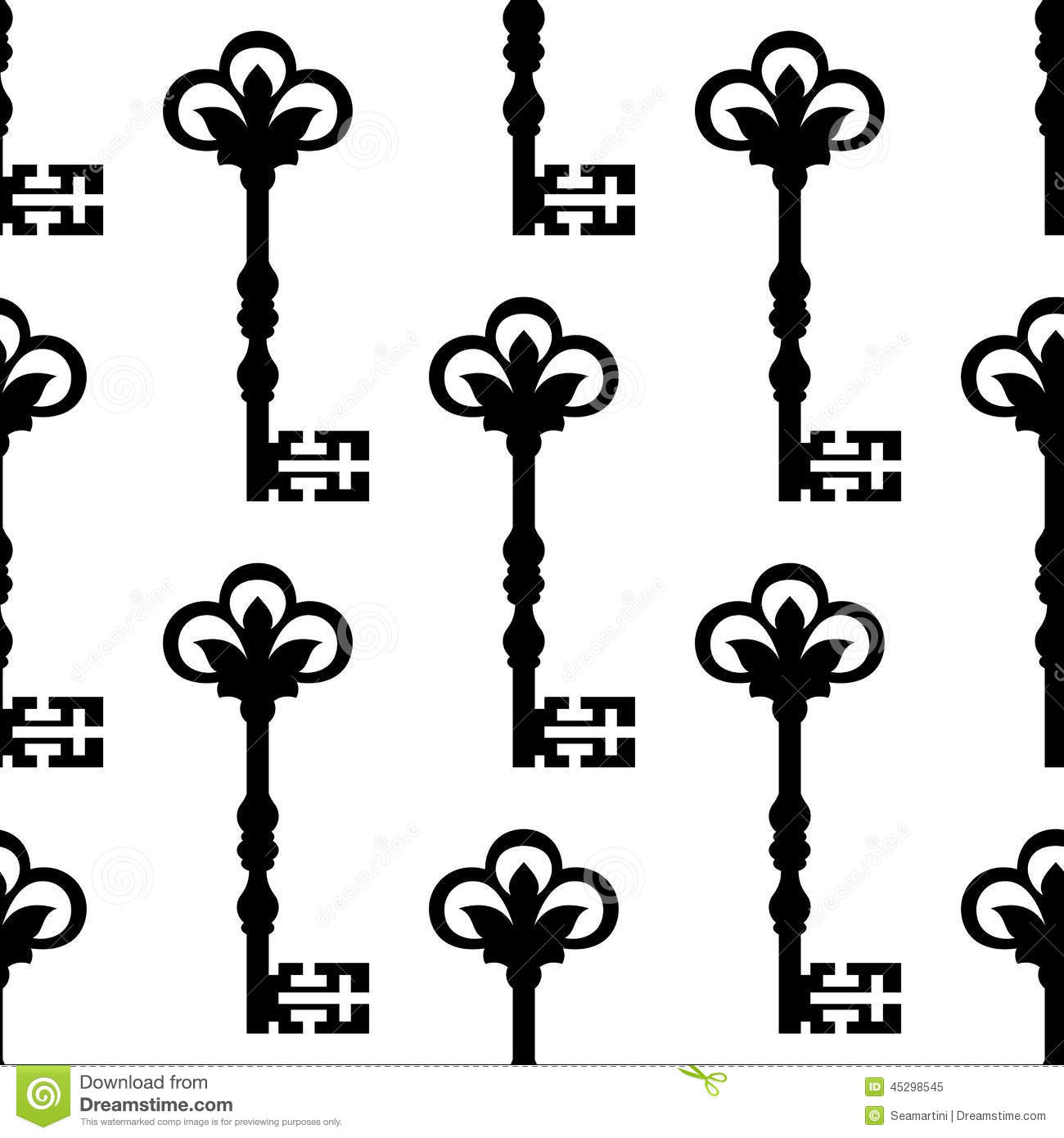 Old Antique Key Seamless Background Pattern Stock Vector