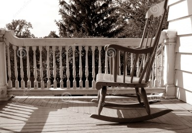 Antique Rocking Chair On Porch
