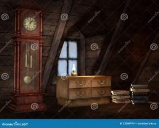 attic clock illustration books dreamstime