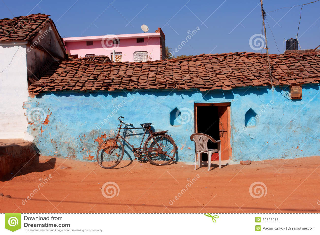 Old Bicycle In Traditional Indian Village Stock Image Image Of Bicycle Exterior 30623073