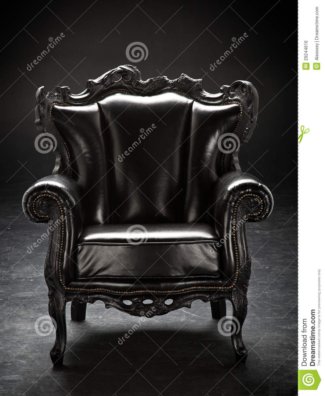 black throne chair kneeling design old upholstered in leather royalty free stock